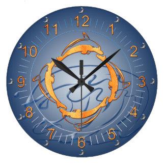 Reloj Redondo Grande Sombras de oro del anillo de los delfínes del azul