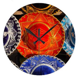 Reloj Redondo Grande Sombreros mexicanos coloridos