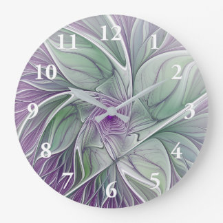 Reloj Redondo Grande Sueño de la flor, arte verde púrpura abstracto del