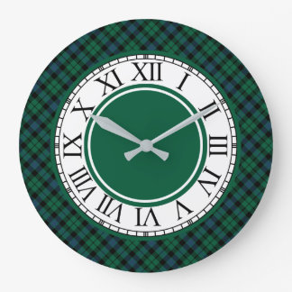Reloj Redondo Grande Tartán verde claro y azul del clan de MacKay