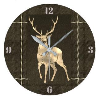 Reloj Redondo Grande Tela escocesa de oro del macho