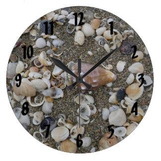 Reloj Redondo Grande Tesoro del Seashell de la concha