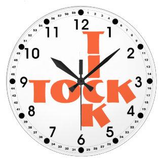 Reloj Redondo Grande Texto anaranjado de Tock de la señal del