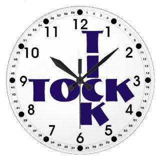 Reloj Redondo Grande Texto de Tock de la señal del crucigrama del añil