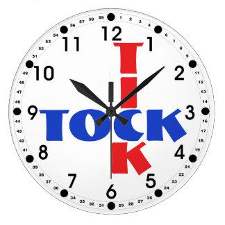 Reloj Redondo Grande Texto rojo, blanco y azul de Tock de la señal del