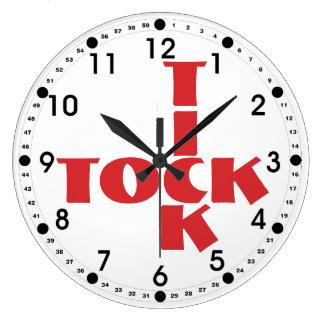 Reloj Redondo Grande Texto rojo de Tock de la señal del crucigrama