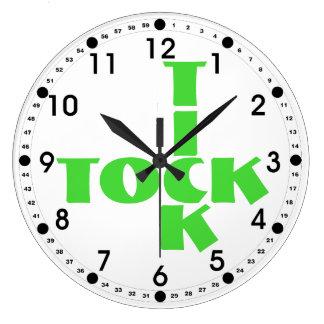 Reloj Redondo Grande Texto verde de Tock de la señal del crucigrama
