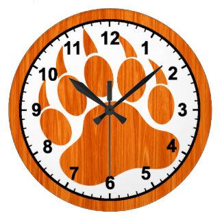 Reloj Redondo Grande Textura de madera impresa de la pata de oso del