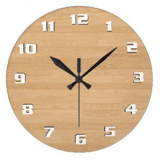 Reloj Redondo Grande Textura de madera ligera moderna limpia lisa