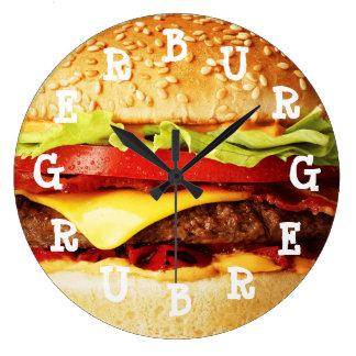 Reloj Redondo Grande Tiempo de la hamburguesa