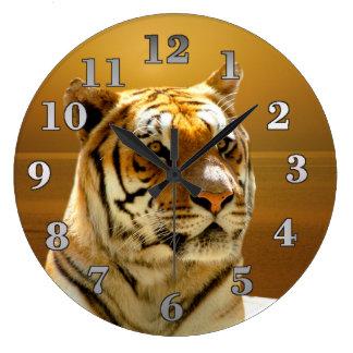 Reloj Redondo Grande Tigre de oro