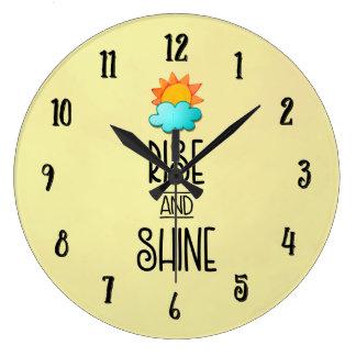 Reloj Redondo Grande Tipografía de la subida y del brillo con Sun y la