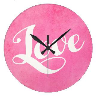 Reloj Redondo Grande Tipografía del amor del vintage