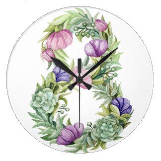 Reloj Redondo Grande Tipografía floral del día de ocho mujeres de la