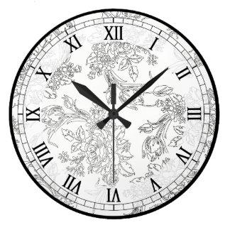 Reloj Redondo Grande Toile floral blanco y negro clásico