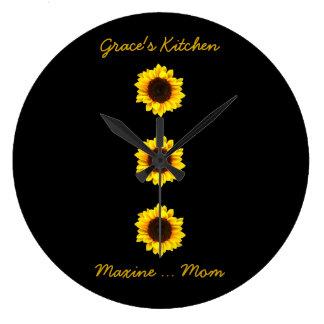 Reloj Redondo Grande Tres girasoles soleados para la cocina de la