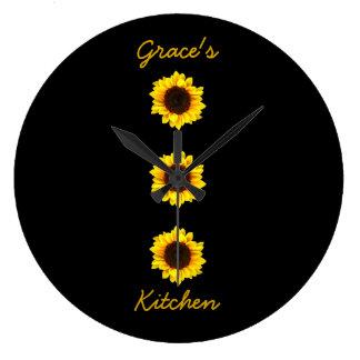 Reloj Redondo Grande Tres girasoles soleados para la cocina I de la