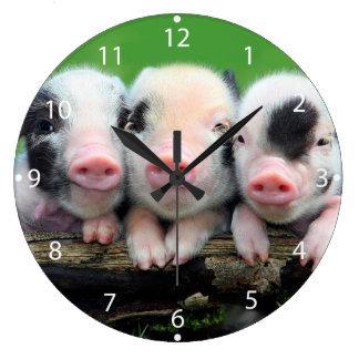Reloj Redondo Grande Tres pequeños cerdos - cerdo lindo - tres cerdos