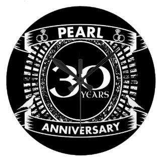 Reloj Redondo Grande trigésimo escudo de la perla del aniversario de