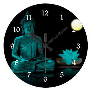 Reloj Redondo Grande Trullo Buda Meditating debajo de la Luna Llena