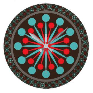 Reloj Redondo Grande Turquesa roja moderna de los mediados de siglo de