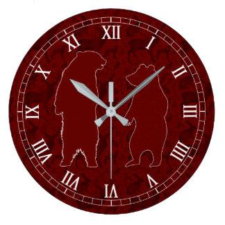 Reloj Redondo Grande Un par del oso del arbolado en falso brillo de