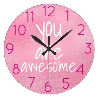 Reloj Redondo Grande Usted es ROSA positivo fresco impresionante de las