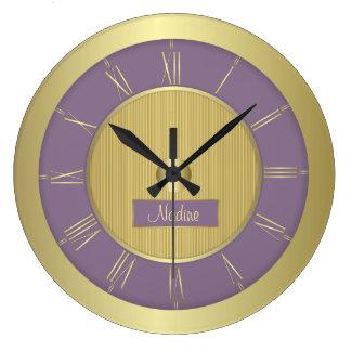 Reloj Redondo Grande Uva y oro púrpuras