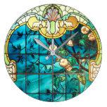 Reloj Redondo Grande Ventana de vidrio manchado Art Nouveau