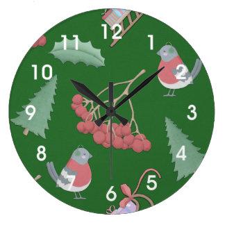 Reloj Redondo Grande Verde de los pájaros y de los trineos del navidad
