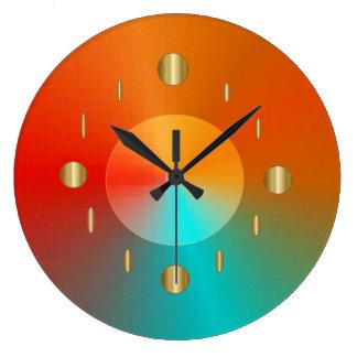 Reloj Redondo Grande Verde rojo de la aguamarina del oro decorativo >