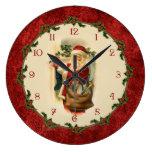 Reloj Redondo Grande Victorian Papá Noel con la frontera del acebo