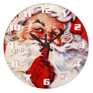 Reloj Redondo Grande Vintage caprichoso y de la diversión Santa