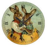 Reloj Redondo Grande Vintage conejitos de Pascua de Victoria y Huevo gi