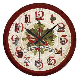 Reloj Redondo Grande Vintage doce días de navidad