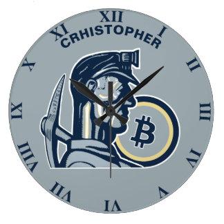 Reloj Redondo Grande Vintage fresco divertido de Bitcoin Cryptocurrency