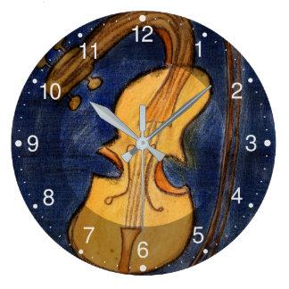 Reloj Redondo Grande Violín surrealista