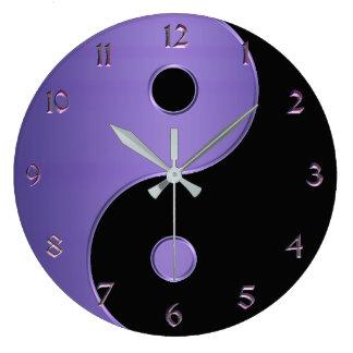 Reloj Redondo Grande Yin Yang en la lavanda púrpura y negra