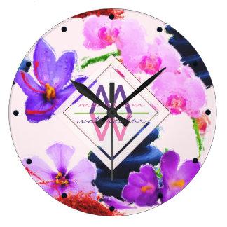 Reloj Redondo Grande Zen de las flores del azafrán y de la orquídea del