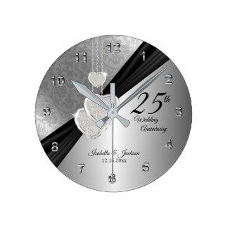 Reloj Redondo Mediano 25to Diseño del recuerdo del aniversario de bodas