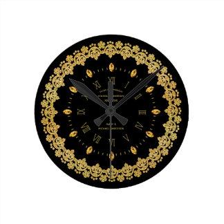 Reloj Redondo Mediano 50.o personalizado de oro elegante del oro del
