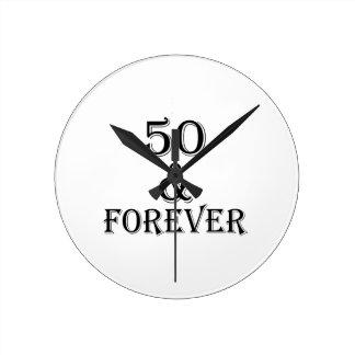 Reloj Redondo Mediano 50 y para siempre diseños del cumpleaños