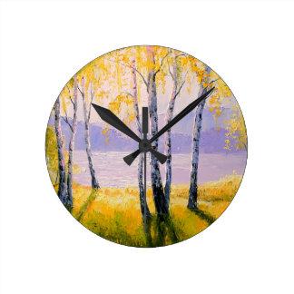 Reloj Redondo Mediano Abedul por el río
