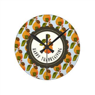 Reloj Redondo Mediano Acción de gracias de la fruta de las peras de la