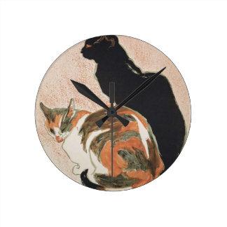 Reloj Redondo Mediano Acuarela - 2 gatos - Théophile Alejandro Steinlen