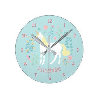 Reloj Redondo Mediano Aguamarina caprichosa del unicornio y de las