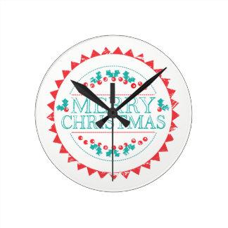 Reloj Redondo Mediano Aguamarina de las Felices Navidad y tipografía