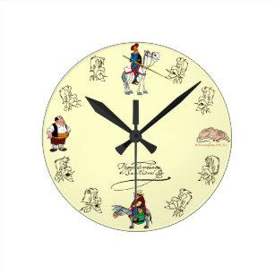 Reloj Redondo Mediano Amigos y bosquejos del DON QUIJOTE, por Cervantes