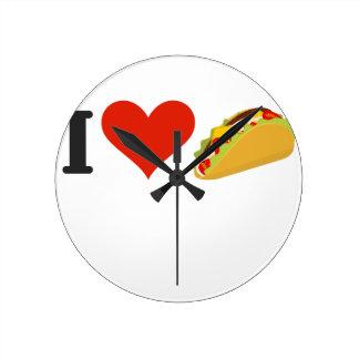 Reloj Redondo Mediano Amo el Tacos para los amantes del Taco