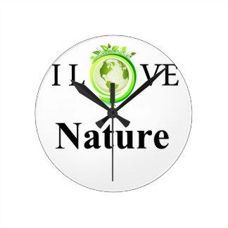Reloj Redondo Mediano Amo la naturaleza